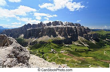 Passo Gardena and Sella mountain - aerial view of Gardena...