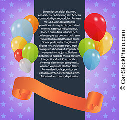 birthday card with colored balloons, vector illustration