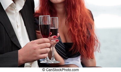 Love dating with glasses of wine