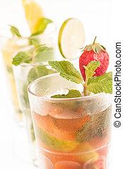 Colourful Mojito Cocktails Close-up - Mojito a Cuban...