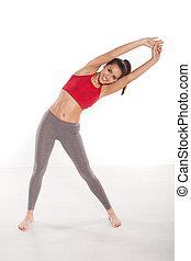 Fit woman doing aerobics