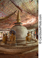 Stupa and Buddha statues in Dambulla Cave Temple
