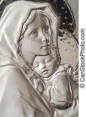 Virgen, maría, y, bebé, Jesús
