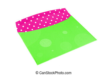 colorful envelope - empty pink and green envelope on a white...