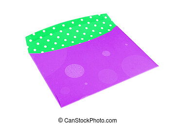 colorful envelope - empty purple and green envelope on a...