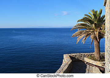castle surrounding the sea - view of Ligurian sea from the...