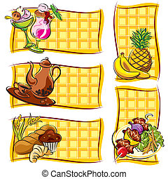 food label - set vector label of images food