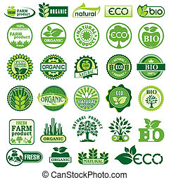 BIO and ECO labels - set vector labels and emblems of...