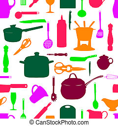 Kitchen tools seamless pattern Silhouette Vector...