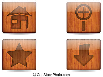 Wooden Square Button - Vector illustration of Wooden Square...