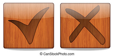 Wooden Square Check Button - Vector Illustration Of Wooden...