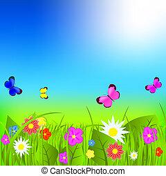 Natural floral background vector illustration