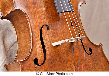 Details of a violoncello on beige background