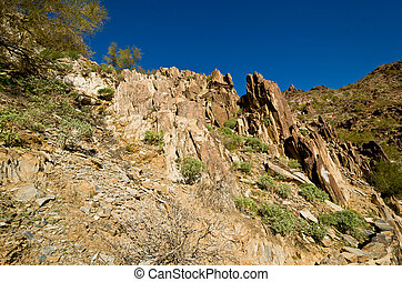Rock Formation Looking up on Piestewa Squaw Peak in Phoenix...