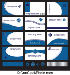 Twelve blue business cards - Twelve business card designs in...