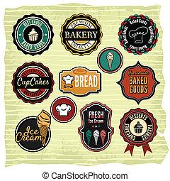 Retro grunge food labels, badges