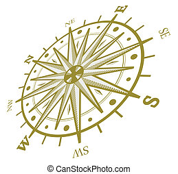 Wind rose compass isolated on white