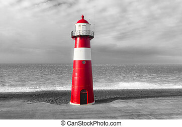 "red lighthouse - ""Noorderhoofd"" lighthouse in Westkapelle,..."