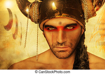 Warrior face - Fantastical portrait of a ancient warrior...