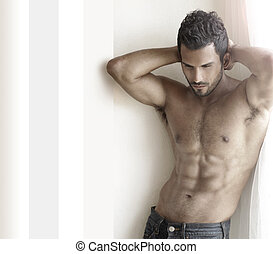 Hot guy - Beautiful musuclar male model with nice abs in...
