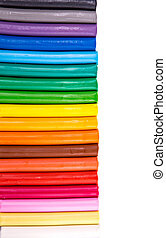 Rainbow colors plasticine bars, modeling clay isolated over...