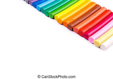 Rainbow colors plasticine bars, modeling clay