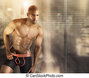Hot male model - Sexy muscular male model in underwear...