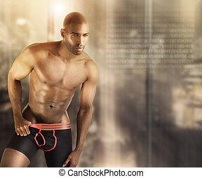 Hot male model - Sexy muscular male model in underwear...