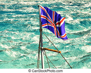 Union Jack waving over troubled waters