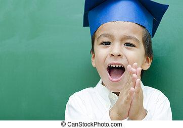 Successful Schoolboy very happy at Blackboard