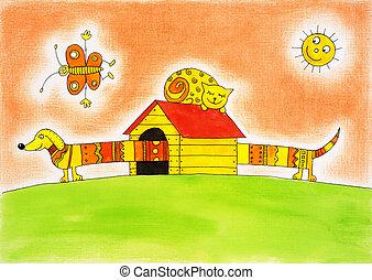 divertido, Niño, dibujo, gato, perro, acuarela, papel,...