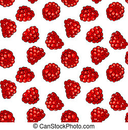 Raspberries - Seamless pattern with fresh juicy raspberries