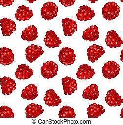 Raspberries - Seamless pattern with fresh juicy raspberries