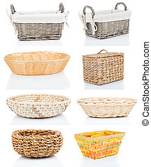 set of wooden baskets, isolated on a white background