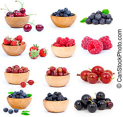 set of fresh strawberry, Blueberries, Raspberries, cherry,...