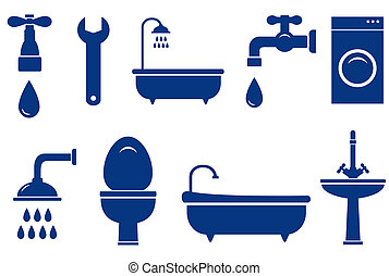 isolated bath objects - plumbing engineering set with...