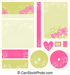 Set of wedding invitations with flowers background.