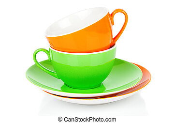 Green and orange tea cup, Isolated on white background