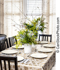 Decorated Christmas dining table