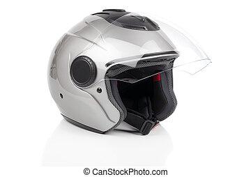gris, brillante, motocicleta, casco, aislado