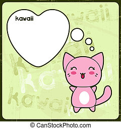 Kawaii card with cute cat on the grunge background