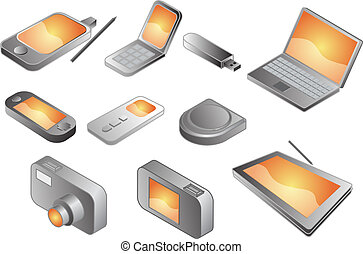 Various electronic gadgets, illustration - Illustration of...