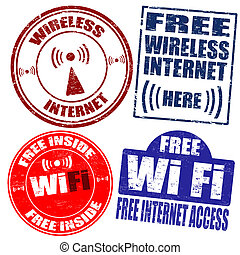 Wireless Wi-Fi internet stamps - Set of wireless Wi-Fi...