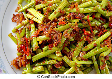 Spicy asparagus - Spicy asian asparagus dish on white plate