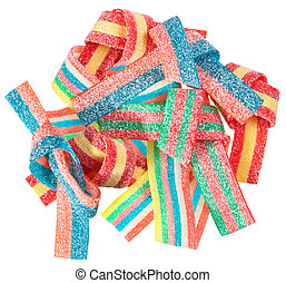 Colorful gummy candy (licorice) sweets, isolated on white
