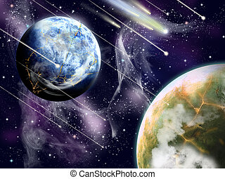 Meteoric rain - A background from two planets and falling...