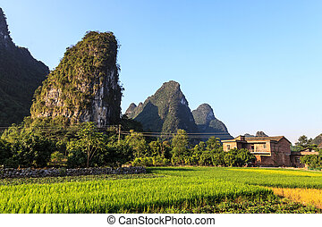 Village near limestone rock formations in South China
