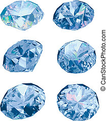 Diamonds isolated on white backgrou - Set of six diamonds...