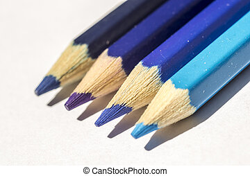 Blue Crayons - Closeup Of Cold Colored Crayons The Color...