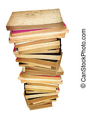old books - pile of old stained books against white...
